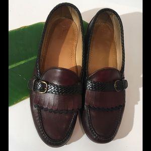 Allen Edmonds Burgundy Black Leather Loafers 13 D